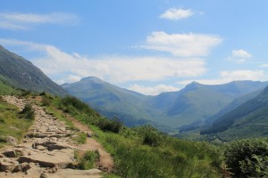 The start of the tourist path up Ben Nevis and looking acrtoss into Glen Nevis